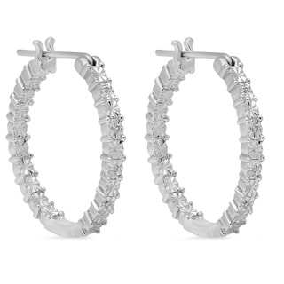 Amanda Rose Sterling Silver Diamond Hoop Earrings
