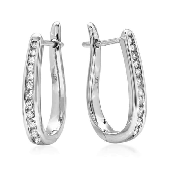 Amanda Rose Collection 1/4ct Diamond Hoop Earrings in 10K White Gold