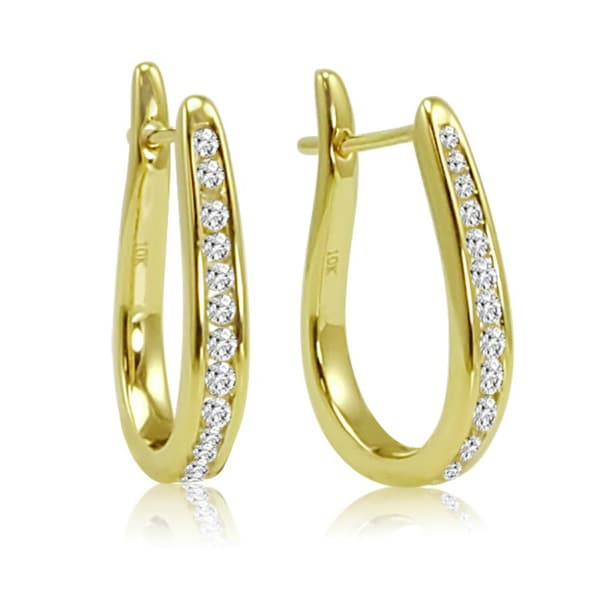 Amanda Rose Collection 1/4ct Diamond Hoop Earrings in 10K Yellow Gold