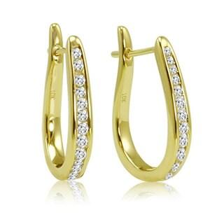 Amanda Rose Collection 1/4ct Diamond Hoop Earrings in 10K Yellow Gold