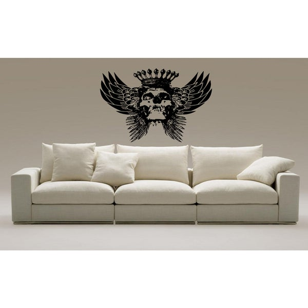 Skull wearing a crown and wings Wall Art Sticker Decal