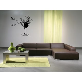 Woman drinking martini Wall Art Sticker Decal