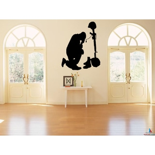 The soldier and the belief in God Wall Art Sticker Decal