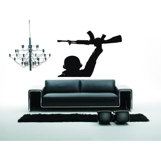 Soldiers and weapons in hand Wall Art Sticker Decal