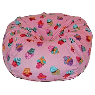 Anti-Pill Pink Cupcakes Fleece Washable Bean Bag Chair