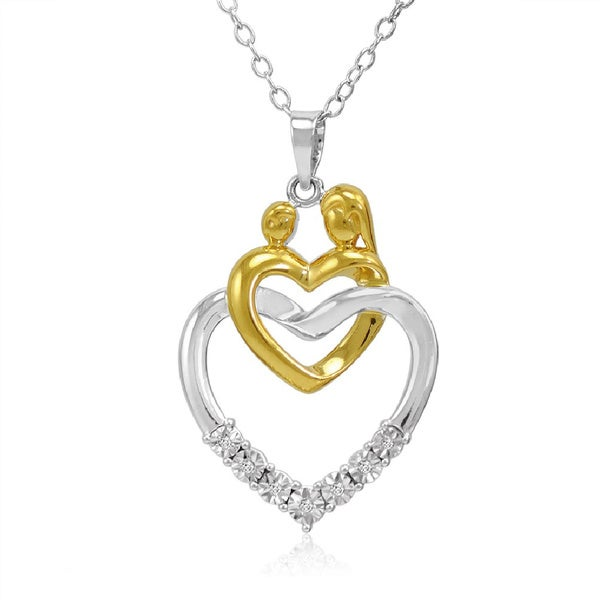 Amanda Rose Collection Two Tone Sterling Silver Mother with Child Diamond Heart Pendant-Necklace