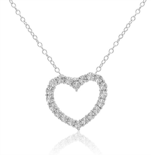 Amanda Rose Collection Diamond Accent Heart Pendant-Necklace in Sterling Silver