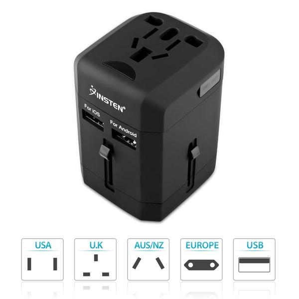 INSTEN Universal Lightweight 2-Port USB World Travel Charger