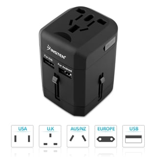 INSTEN Universal Lightweight 2-Port USB World Travel Charger