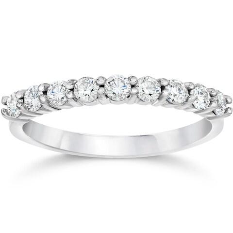 14k White Gold 1/2ct TDW Eco Friendly Lab Grown Diamond Wedding Stackable Ring