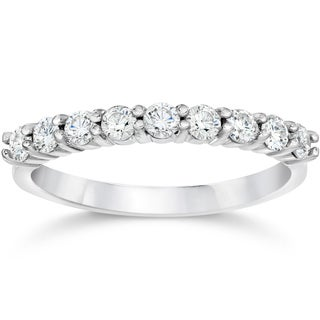 14k White Gold 1/2ct TDW Eco Friendly Lab Grown Diamond Wedding Stackable Ring (E-F,VS1-VS2)