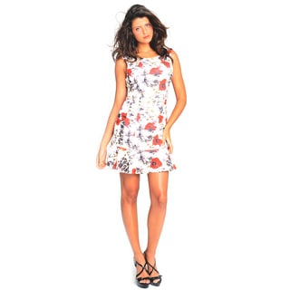 Sara Boo Floral Flutter-Hem Dress