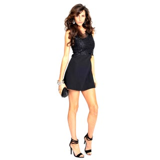 Sara Boo Little Black Dress with Lace Detail