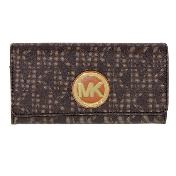 3abbc718f048 Shop Michael Kors Fulton Brown Logo/Gold Carryall Wallet - Free ...