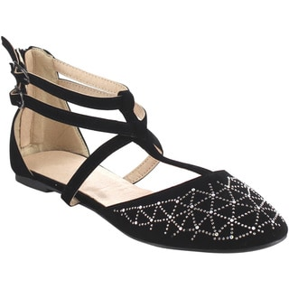 Beston GB27 Women's Gladiator Style Double Strap Flats