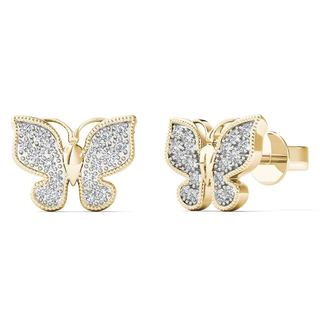 AALILLY 10k Yellow Gold 1/10ct TDW Diamond Butterfly Stud Earrings (H-I, I1-I2)