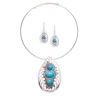 Bleek2Sheek 'Mayan Love' Faux Turquoise Web Teardrop Choker Necklace and Earring Jewelry Set