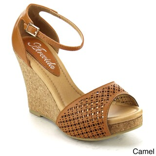 KISS & TELL NAEVA-01 Women's Two-tone Cork Look Wedge (Runs Half Size Big)