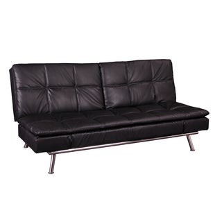 Rickson Black Bonded Leather Multi-Functional Futon Sleeper