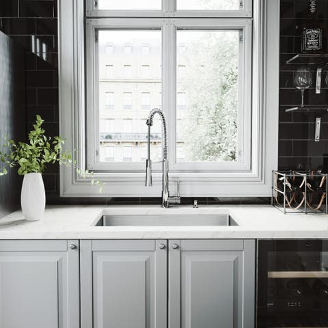 VIGO Mercer Stainless Steel Kitchen Sink and Laurelton Faucet Set