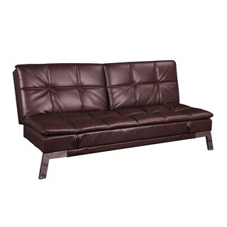 Parker Chocolate Bonded Leather Multi-Functional Futon Sleeper