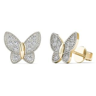 10k Yellow Gold Diamond Accent Butterfly Stud Earrings (H-I, I1-I2)