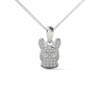 AALILLY 10k White Gold Diamond Accent Long Ear Rabbit Pendant Necklace