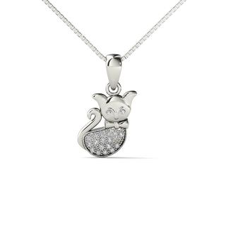 10k White Gold Diamond Accent Cat Pendant Necklace (H-I,I1-I2)