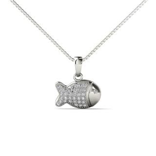 10k White Gold 1/10ct TDW  Diamond Fish Pendant Necklace (H-I,I1-I2)