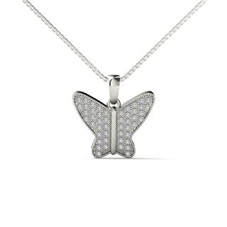 10k White Gold 1/6ct TDW Diamond Butterfly Pendant Necklace
