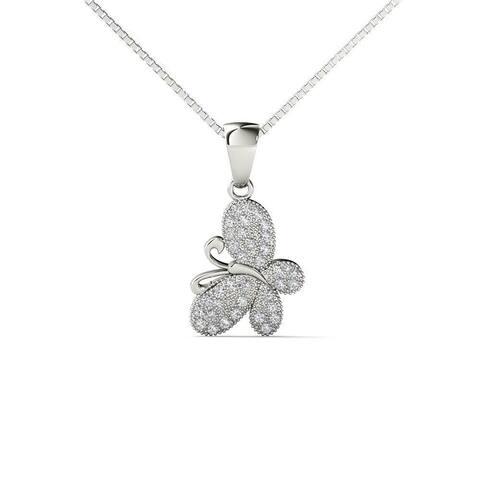 10k White Gold 1/10 carat Diamond Butterfly Pendant Necklace (H-I,I1-I2)