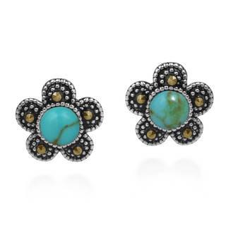 Handmade Daisy Flower Stone and Marcasite .925 Silver Earrings (Thailand)