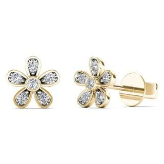 AALILLY 10k Yellow Gold Diamond Accent Cute Flower Stud Earrings