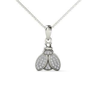 10k White Gold 1/10ct TDW Diamond Bumble Bee Pendant Necklace (H-I,I1-I2)