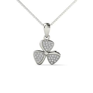 10k White Gold 1/8ct TDW Diamond Fashion Pendant Necklace (H-I,I1-I2)