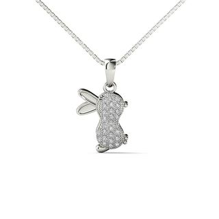 AALILLY 10k White Gold Diamond Accent Rabbit Pendant Necklace