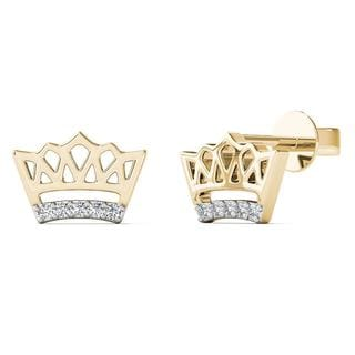 AALILLY 10k Yellow Gold Diamond Accent Crown Stud Earrings