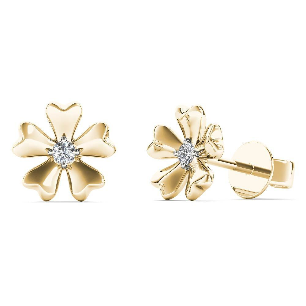 Aalilly 10k Yellow Gold Single Diamond Accent Flower Stud Earrings