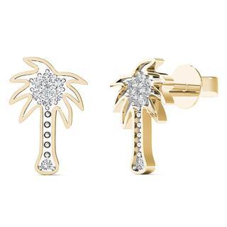 10k Yellow Gold Diamond Accent Palm Tree Stud Earrings