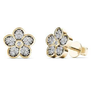 AALILLY 10k Yellow Gold 1/10ct TDW Diamond Flower Stud Earrings