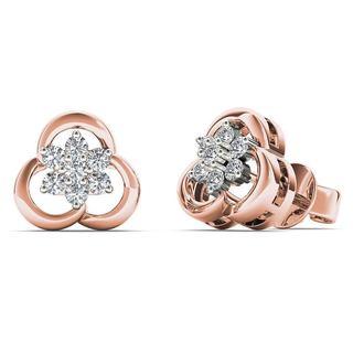 AALILLY 10k Rose Gold 1/6ct TDW Diamond Flower Cluster Stud Earrings