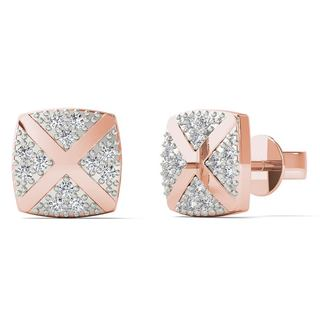 AALILLY 10k Rose Gold Diamond Accents Square Stud Earrings