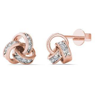 10k Rose Gold Diamond Accent Love Knot Stud Earrings (H-I, I1-I2)