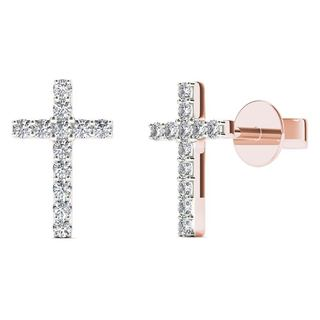 10k Rose Gold 1/10th TDW Diamond Cross Stud Earrings (H-I, I1-I2)