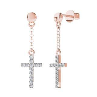 AALILLY 10k Rose Gold 1/10th TDW Diamond Cross Dangle Stud Earrings (H-I, I1-I2)