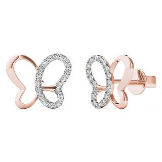 AALILLY 10k Rose Gold 1/10ct TDW Diamond Butterfly Stud Earrings