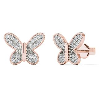 AALILLY 10k Rose Gold 1/5ct TDW Diamond Butterfly Stud Earrings