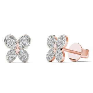 AALILLY 10k Rose Gold 1/10ct TDW Diamond butterfly Stud Earrings (H-I, I1-I2)
