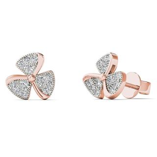AALILLY 10k Rose Gold Diamond Accent Fan Blades Fashion Stud Earrings