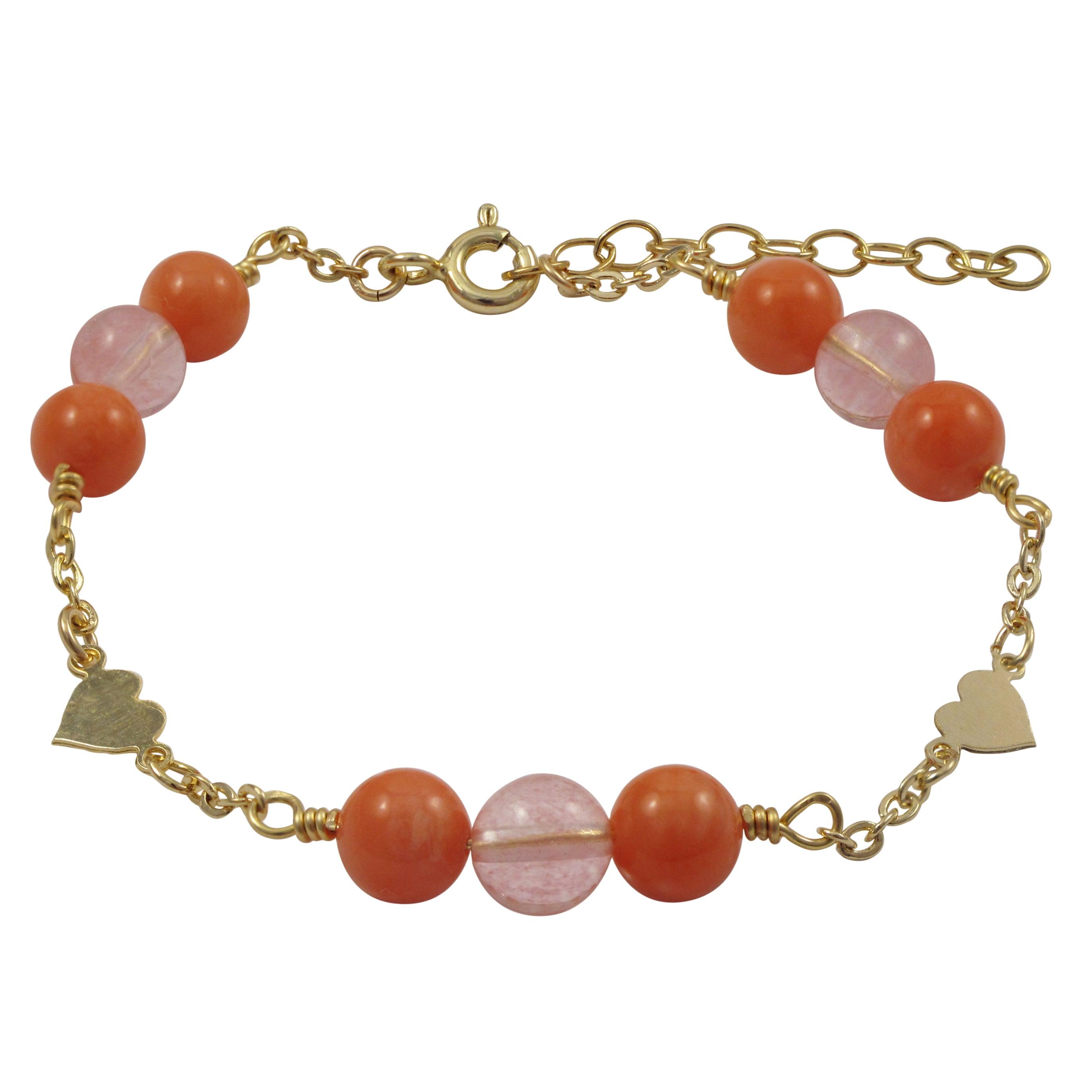 Luxiro Gold Filled Coral Semi-precious Gemstone Children'...